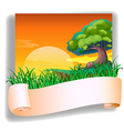 A field with a sunset view and an empty template vector image vector image