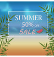 banner summer discount on the beach with sea vector image vector image