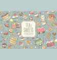 big collection pastries and tea accessories vector image vector image