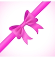 Big shiny pink bow and ribbon on white background vector image vector image