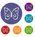 butterfly peacock eye icons set vector image vector image