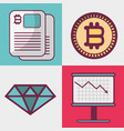 color set icon bitcoin money currency vector image vector image