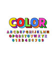 colorful font design alphabet letters and numbers vector image vector image