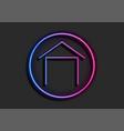concept blue purple neon house symbol logo vector image vector image