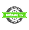 contact us round stamp with green ribbon vector image vector image