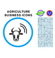 cow radio signal rounded icon with set vector image