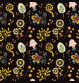 dark fantasy flowers and mushroom seamless pattern vector image