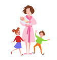 desperate mother with newborn and children vector image