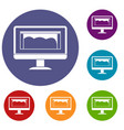drawing monitor icons set vector image vector image