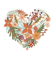 Elegant heart from flowers with ladybug vector image vector image