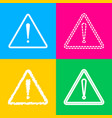 exclamation danger sign flat style four styles vector image vector image