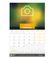 february 2018 wall monthly calendar for 2018 year vector image vector image