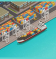 freight barges harbor wharf isometric vector image vector image
