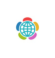 Globe flower colorful logo charitable foundation vector image vector image