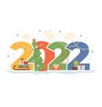 happy new year 2022 greeting card gifts and tree vector image vector image