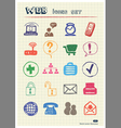 Internet icons set drawn by color pencils vector image vector image