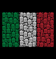 italy flag pattern of trash bin icons vector image