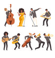 jazz band group musicians singing and playing vector image vector image