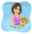 Little boy learning to swim with mother vector image vector image