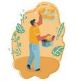 man with shopping market basket vector image vector image