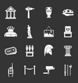 museum icons set grey vector image vector image