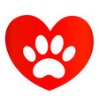 paw print on red heart icon logo symbol vector image vector image