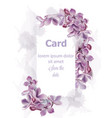 purple lilac flowers card invitation vector image vector image