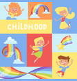 rainbow jumping kids childhood poster bright vector image