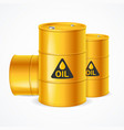 realistic 3d detailed yellow barrels set vector image vector image