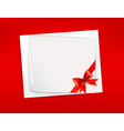Red background with sheet of paper and red bow and vector image