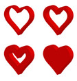 set 3d red shape heart icon set heart vector image