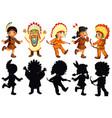 set native american character vector image