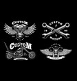 set of 4 vintage biker on dark background 1 vector image vector image