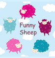 set with cute sheep vector image