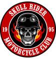 skull biker motorcycle club badge vector image