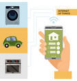 smart home and internet things concept man vector image vector image
