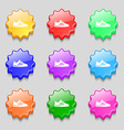 Sneakers icon sign symbol on nine wavy colourful vector image vector image