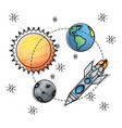 sun and earth with mercury and rocket exploration vector image vector image