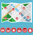 Transportation Colorful Icon Set on the Map vector image vector image