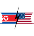usa and north korea flag confrontation between vector image vector image
