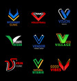 v icons corporate brand and business identity vector image vector image
