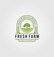 vintage fresh farm with tree logo designs vector image vector image