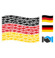 waving german flag pattern of handshake items vector image
