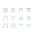 Window textile decor flat line icons set vector image vector image