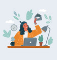 woman sitting at desk vector image vector image