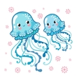 Couple smiling jellyfish floating in the sea vector image