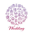 bright wedding line icons round concept vector image
