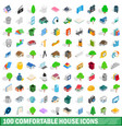 100 comfortable house icons set isometric style vector image