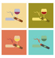 assembly flat icons poker cigar glass of wine vector image