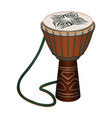 authentic african wooden djembe with patterns and vector image vector image
